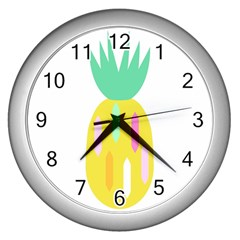 Pineapple Fruite Yellow Triangle Pink White Wall Clocks (silver)  by Mariart