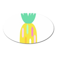 Pineapple Fruite Yellow Triangle Pink White Oval Magnet by Mariart