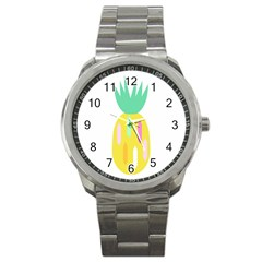 Pineapple Fruite Yellow Triangle Pink White Sport Metal Watch by Mariart