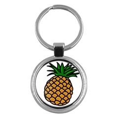 Pineapple Fruite Yellow Green Orange Key Chains (round)  by Mariart