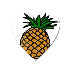 Pineapple Fruite Yellow Green Orange Heart Magnet by Mariart