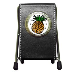 Pineapple Fruite Yellow Green Orange Pen Holder Desk Clocks by Mariart
