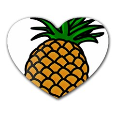 Pineapple Fruite Yellow Green Orange Heart Mousepads by Mariart