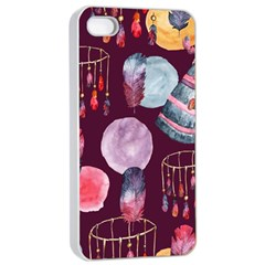 Boho Tribal Watercolor Pattern  Apple Iphone 4/4s Seamless Case (white) by paulaoliveiradesign