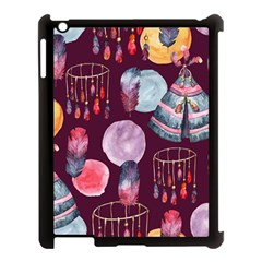 Boho Tribal Watercolor Pattern  Apple Ipad 3/4 Case (black) by paulaoliveiradesign