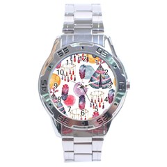 Boho Tribal Watercolor White Pattern Stainless Steel Analogue Watch by paulaoliveiradesign