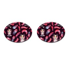 Boho Owl And Feather Pattern Cufflinks (oval) by paulaoliveiradesign