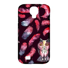 Boho Owl And Feather Pattern Samsung Galaxy S4 Classic Hardshell Case (pc+silicone) by paulaoliveiradesign