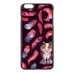 Boho Owl And Feather Pattern Apple Iphone 6 Plus/6s Plus Black Enamel Case by paulaoliveiradesign