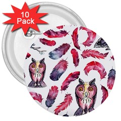 Boho Owl And Feather White Pattern 3  Buttons (10 Pack)  by paulaoliveiradesign