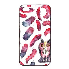 Boho Owl And Feather White Pattern Apple Iphone 4/4s Seamless Case (black) by paulaoliveiradesign