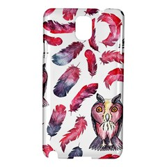 Boho Owl And Feather White Pattern Samsung Galaxy Note 3 N9005 Hardshell Case by paulaoliveiradesign