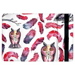 Boho Owl And Feather White Pattern Ipad Air 2 Flip by paulaoliveiradesign