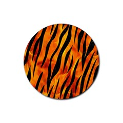 Skin3 Black Marble & Fire (r) Rubber Coaster (round)  by trendistuff