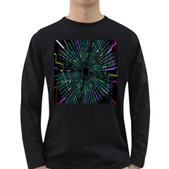 Colorful Geometric Electrical Line Block Grid Zooming Movement Long Sleeve Dark T Shirts by Mariart