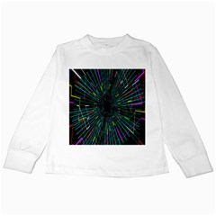 Colorful Geometric Electrical Line Block Grid Zooming Movement Kids Long Sleeve T Shirts by Mariart