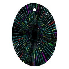 Colorful Geometric Electrical Line Block Grid Zooming Movement Oval Ornament (two Sides) by Mariart