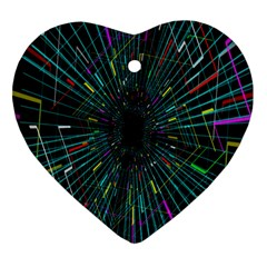 Colorful Geometric Electrical Line Block Grid Zooming Movement Heart Ornament (two Sides) by Mariart