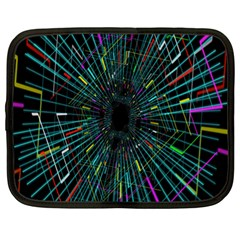 Colorful Geometric Electrical Line Block Grid Zooming Movement Netbook Case (xl)  by Mariart