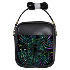 Colorful Geometric Electrical Line Block Grid Zooming Movement Girls Sling Bags by Mariart