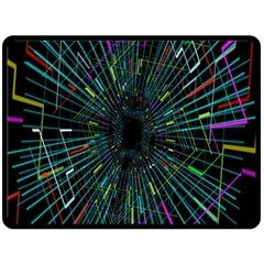 Colorful Geometric Electrical Line Block Grid Zooming Movement Fleece Blanket (large)  by Mariart