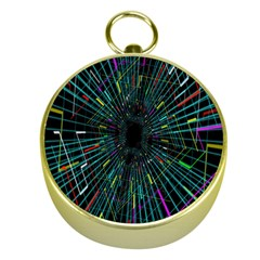 Colorful Geometric Electrical Line Block Grid Zooming Movement Gold Compasses by Mariart