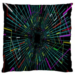 Colorful Geometric Electrical Line Block Grid Zooming Movement Large Flano Cushion Case (one Side) by Mariart