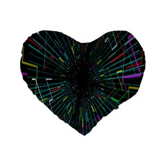 Colorful Geometric Electrical Line Block Grid Zooming Movement Standard 16  Premium Flano Heart Shape Cushions by Mariart