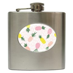 Pineapple Rainbow Fruite Pink Yellow Green Polka Dots Hip Flask (6 Oz) by Mariart