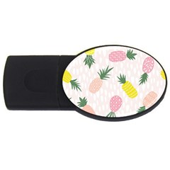 Pineapple Rainbow Fruite Pink Yellow Green Polka Dots Usb Flash Drive Oval (4 Gb) by Mariart