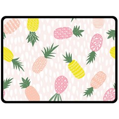 Pineapple Rainbow Fruite Pink Yellow Green Polka Dots Double Sided Fleece Blanket (large)  by Mariart