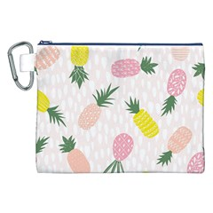 Pineapple Rainbow Fruite Pink Yellow Green Polka Dots Canvas Cosmetic Bag (xxl) by Mariart