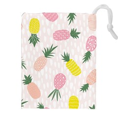 Pineapple Rainbow Fruite Pink Yellow Green Polka Dots Drawstring Pouches (xxl) by Mariart