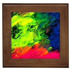 Neon Rainbow Green Pink Blue Red Painting Framed Tiles by Mariart