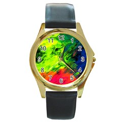 Neon Rainbow Green Pink Blue Red Painting Round Gold Metal Watch by Mariart