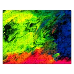 Neon Rainbow Green Pink Blue Red Painting Rectangular Jigsaw Puzzl by Mariart