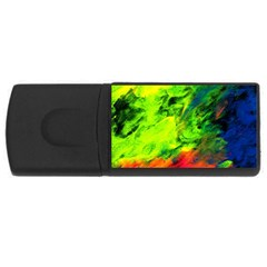 Neon Rainbow Green Pink Blue Red Painting Rectangular Usb Flash Drive by Mariart
