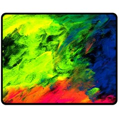 Neon Rainbow Green Pink Blue Red Painting Fleece Blanket (medium)  by Mariart