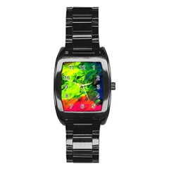 Neon Rainbow Green Pink Blue Red Painting Stainless Steel Barrel Watch by Mariart
