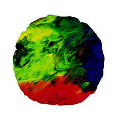 Neon Rainbow Green Pink Blue Red Painting Standard 15  Premium Flano Round Cushions by Mariart
