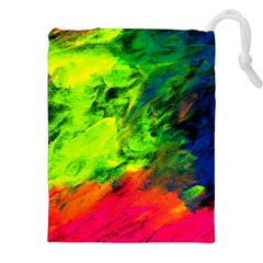 Neon Rainbow Green Pink Blue Red Painting Drawstring Pouches (xxl) by Mariart