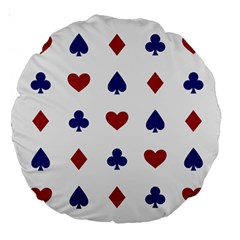 Playing Cards Hearts Diamonds Large 18  Premium Round Cushions by Mariart