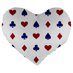 Playing Cards Hearts Diamonds Large 19  Premium Heart Shape Cushions by Mariart