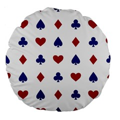Playing Cards Hearts Diamonds Large 18  Premium Flano Round Cushions by Mariart