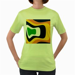Rainbow Pink Yellow Bluw Green Rainbow Women s Green T Shirt by Mariart
