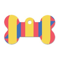 Rainbow Sign Yellow Red Blue Retro Dog Tag Bone (one Side) by Mariart