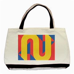 Rainbow Sign Yellow Red Blue Retro Basic Tote Bag (two Sides) by Mariart