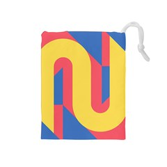 Rainbow Sign Yellow Red Blue Retro Drawstring Pouches (medium)  by Mariart