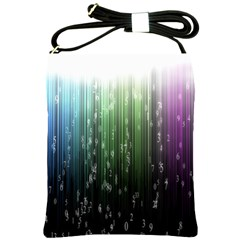 Numerical Animation Random Stripes Rainbow Space Shoulder Sling Bags by Mariart