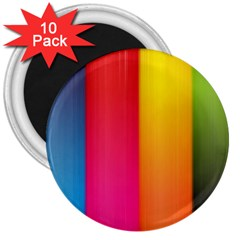 Rainbow Stripes Vertical Lines Colorful Blue Pink Orange Green 3  Magnets (10 Pack)  by Mariart